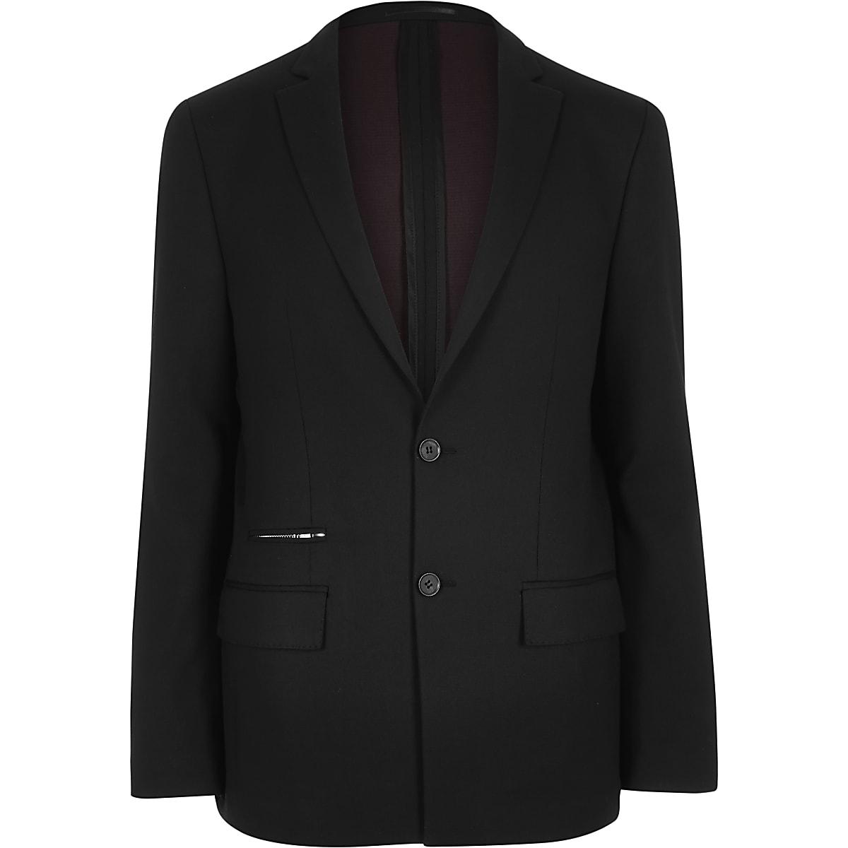 Black zip pocket slim blazer