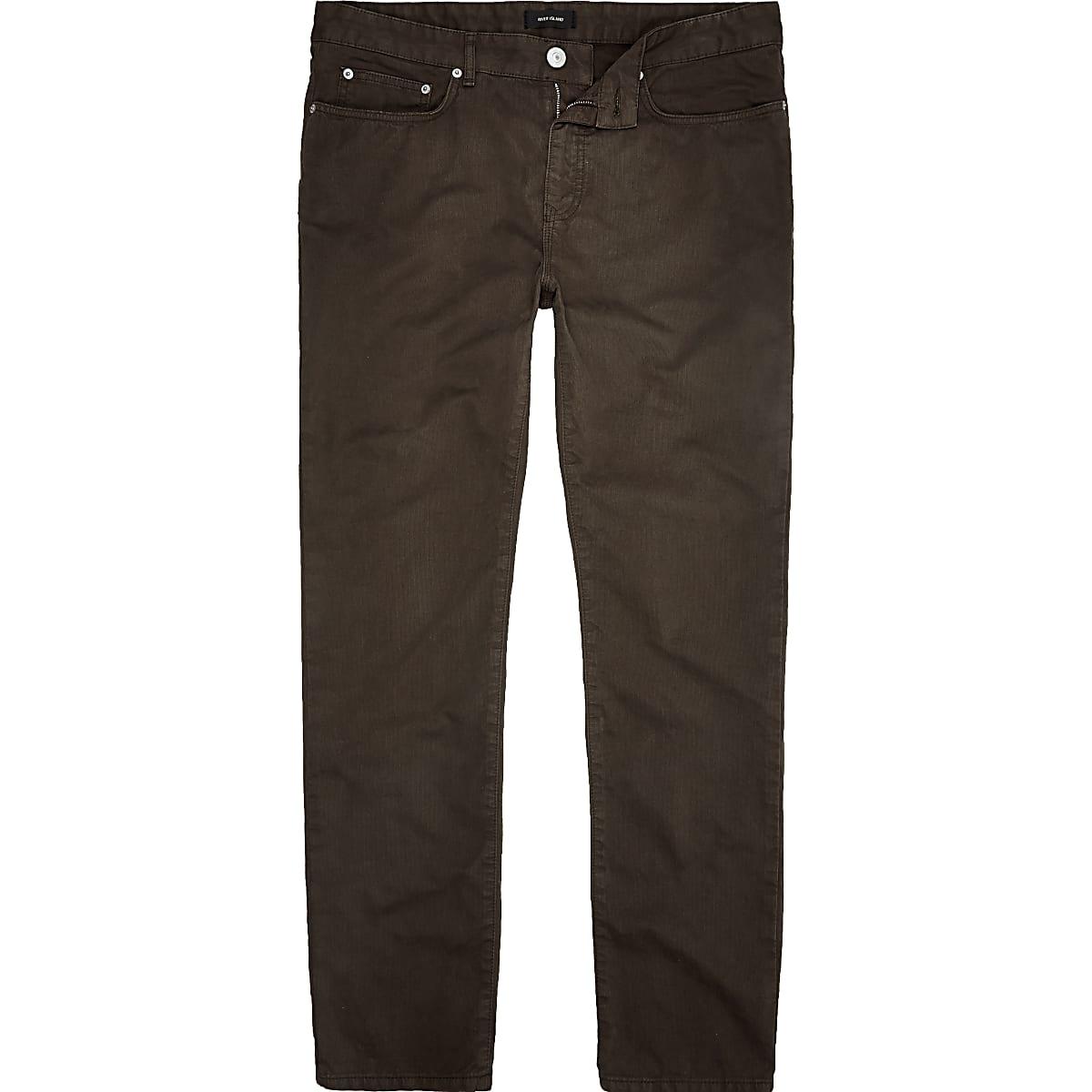 Pantalon slim en coton marron