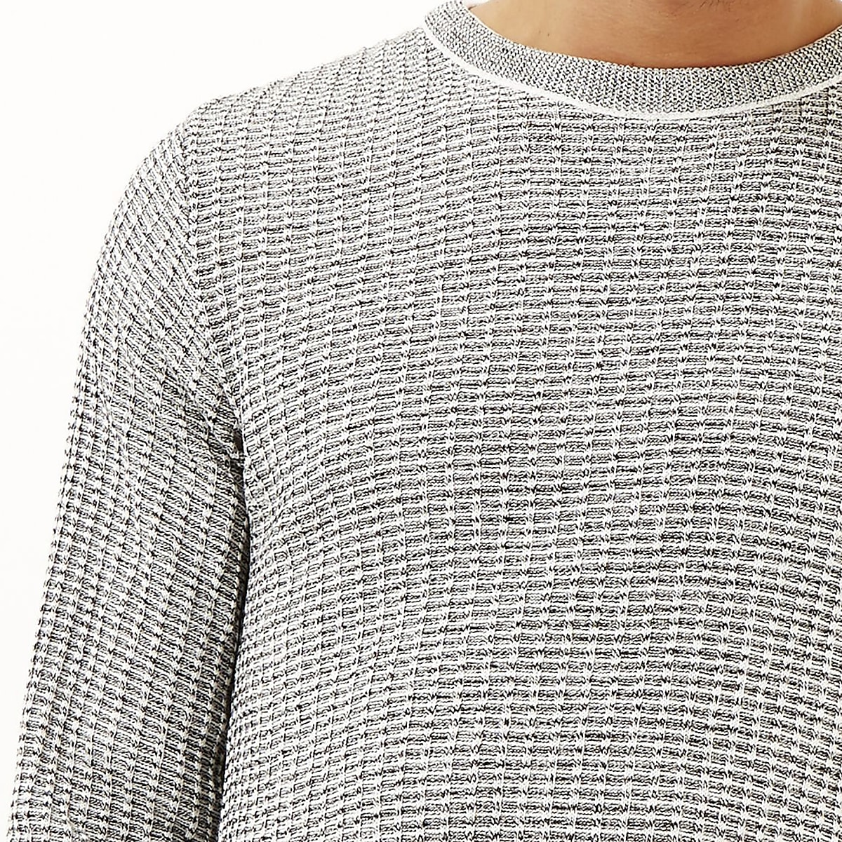 Grey marl ribbed slim fit jumper