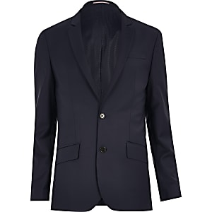 Navy wool-blend skinny suit jacket