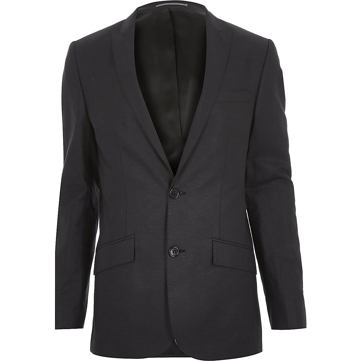 Navy linen-blend skinny suit jacket