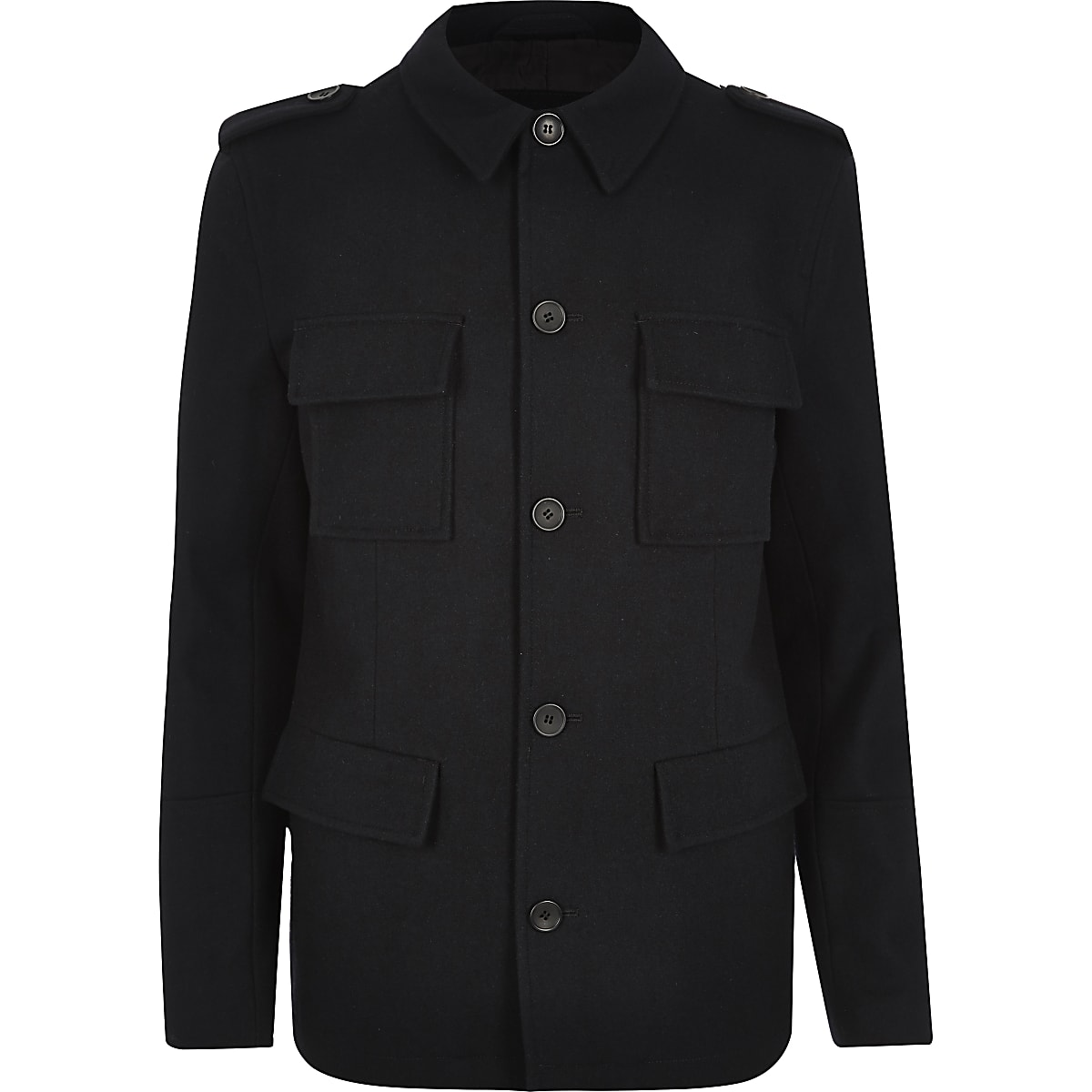 Navy wool-blend smart military coat