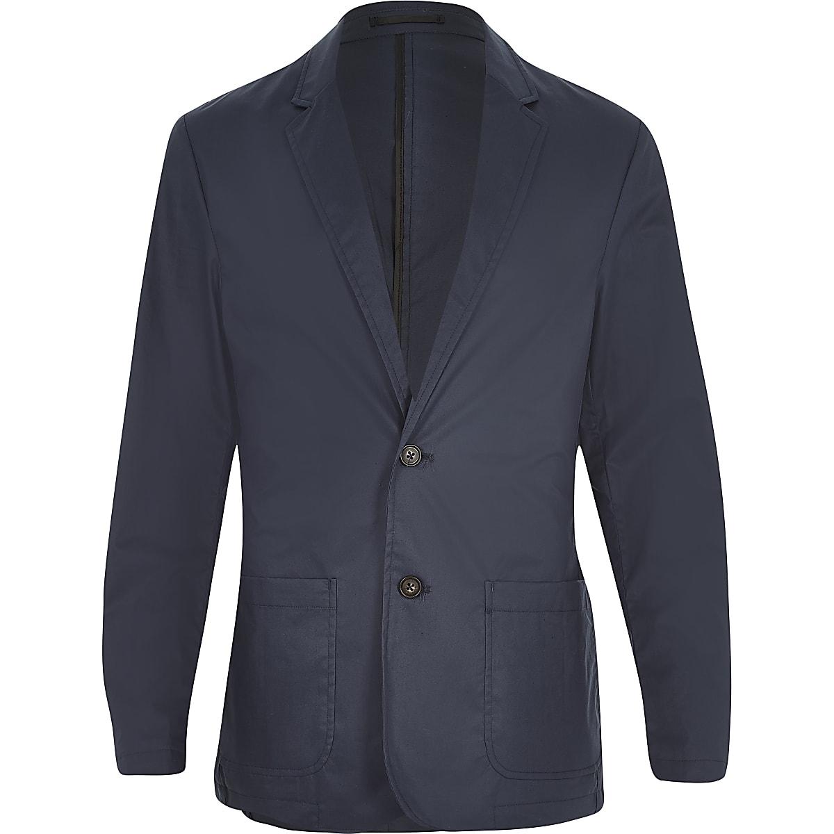 Navy poplin slim blazer