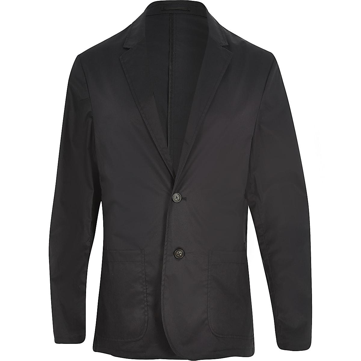 Black poplin slim blazer