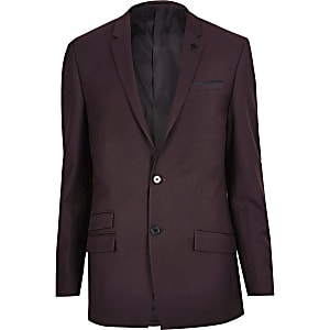 Burgundy skinny suit jacket