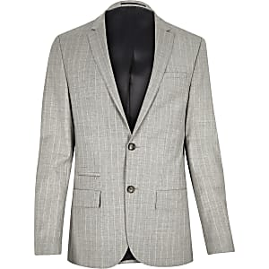 Grey stripe wool-blend skinny suit jacket