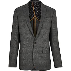 Grey Prince of Wales check slim suit jacket
