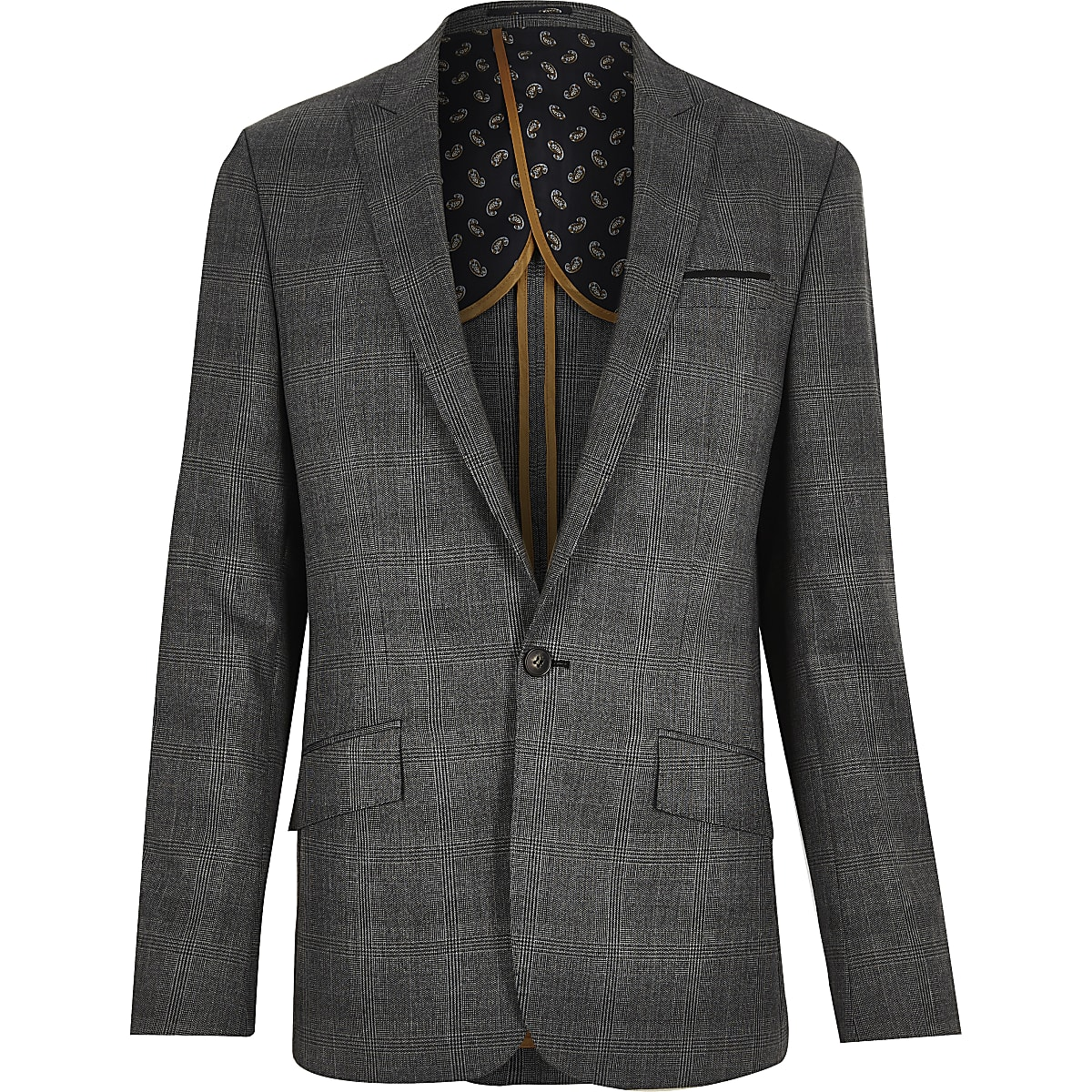 Grey Prince of Wales check slim suit jacket