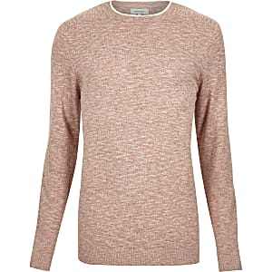 Light red marl crew neck long sleeve sweater