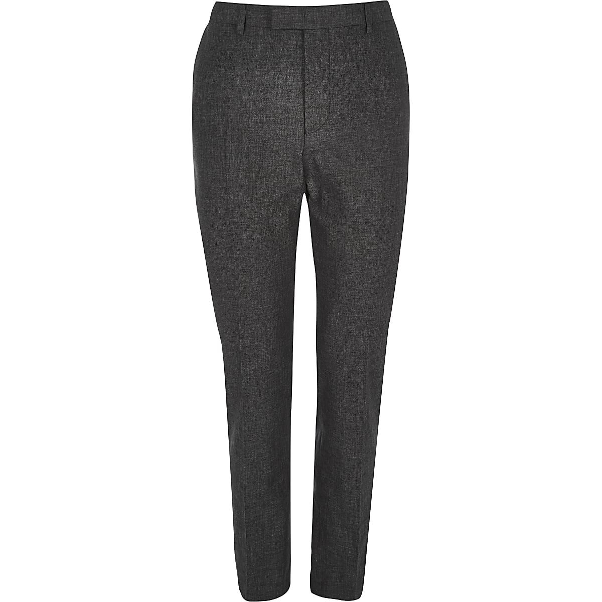 Pantalon de costume en lin noir slim