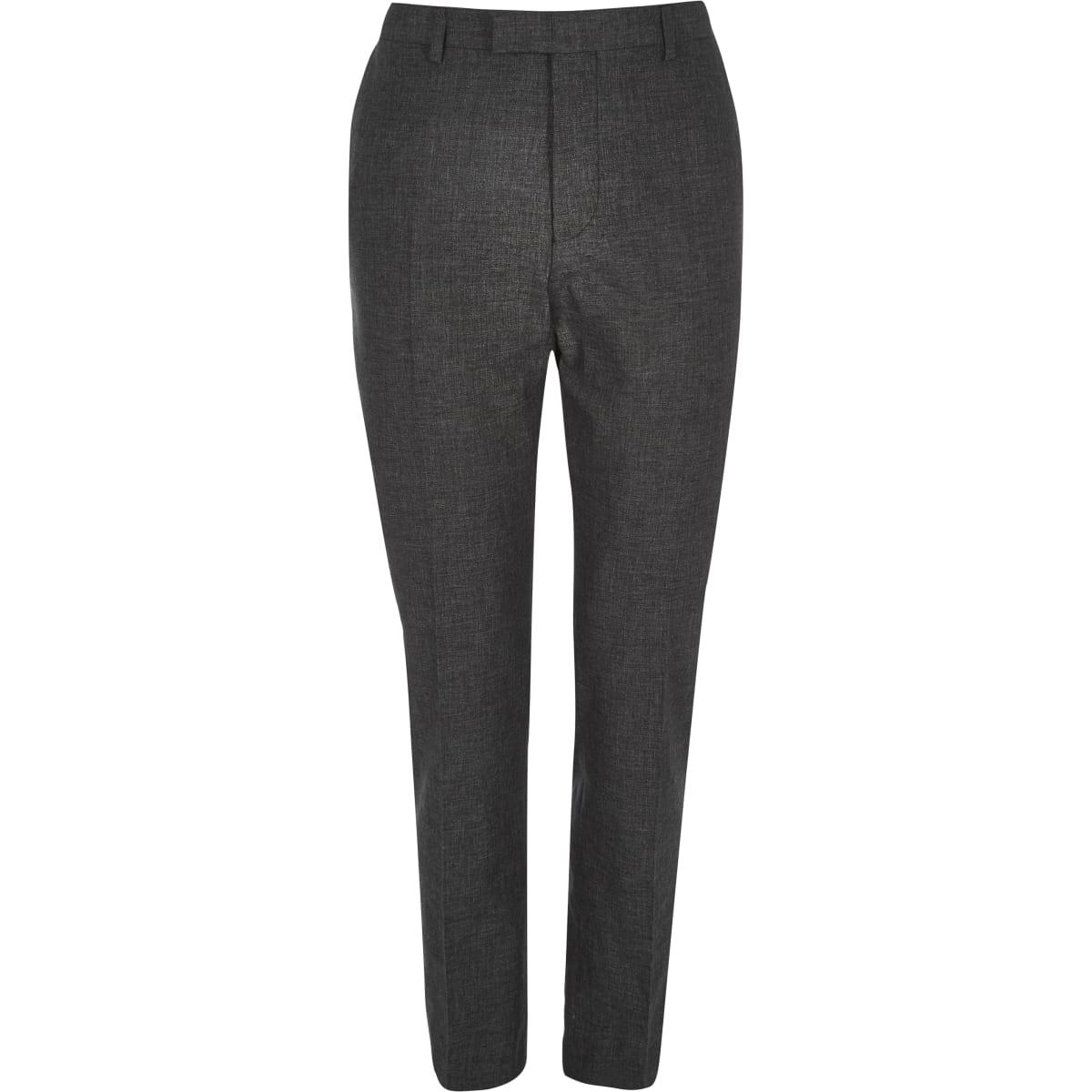 Black linen slim fit suit trousers