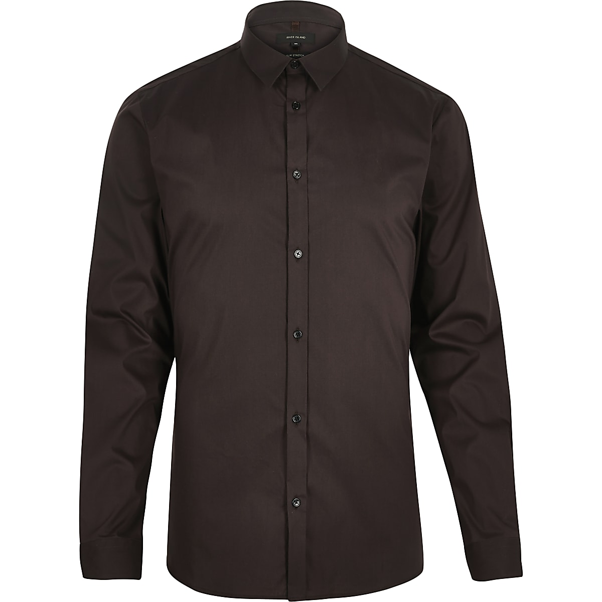 Brown stretch long sleeve slim shirt