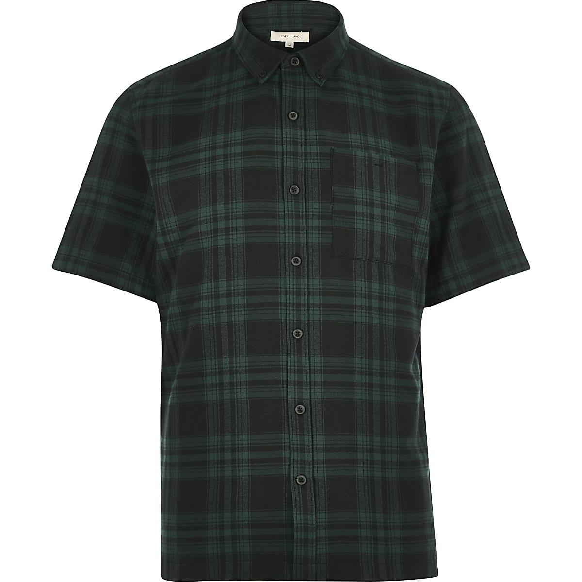Green check twill short sleeve shirt