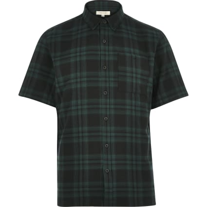 Green check twill short sleeve shirt