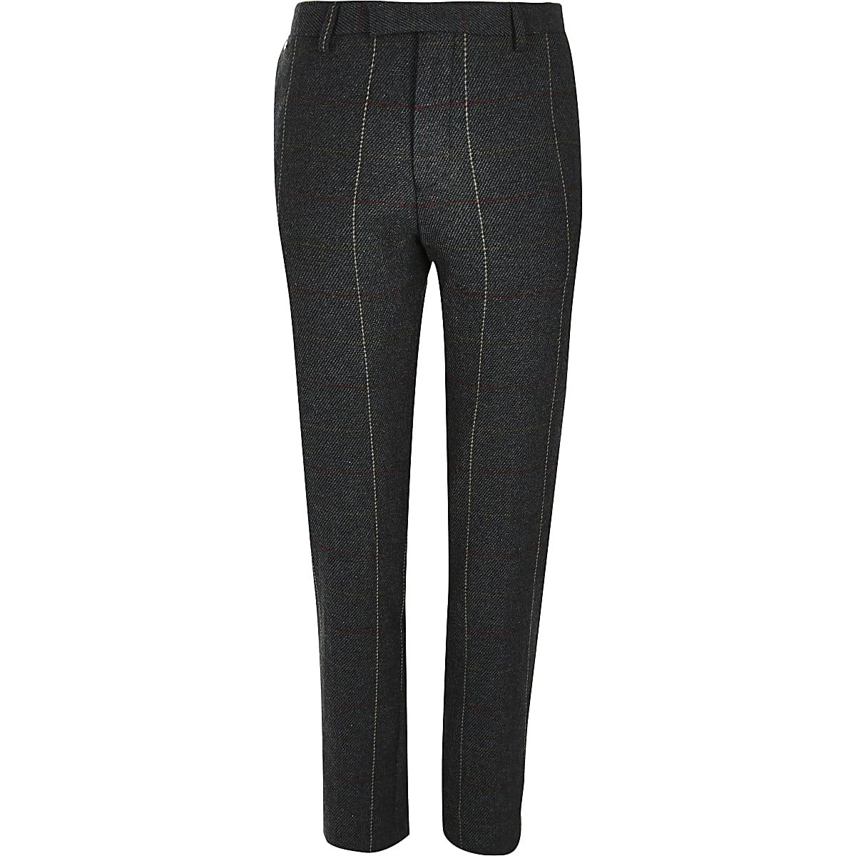 Dark green check skinny suit trousers