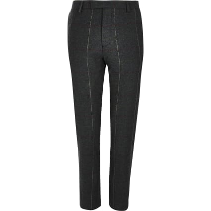Dark green check skinny suit trousers