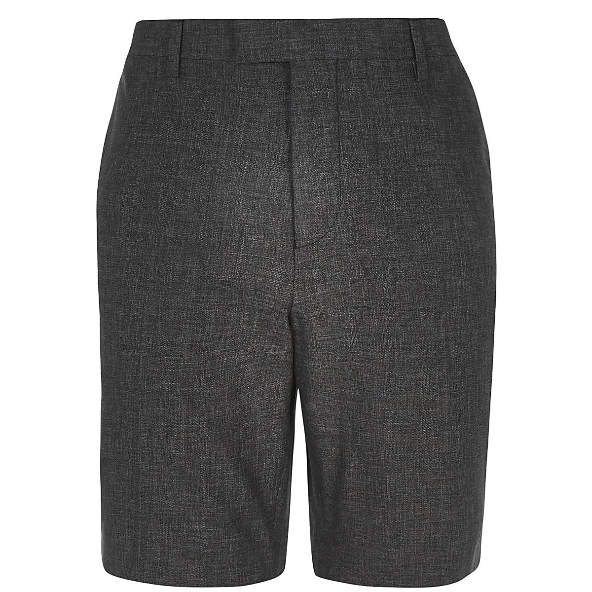 Black linen tailored shorts