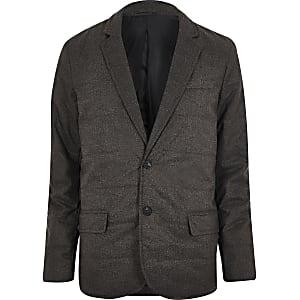 Dark grey padded quilted slim blazer