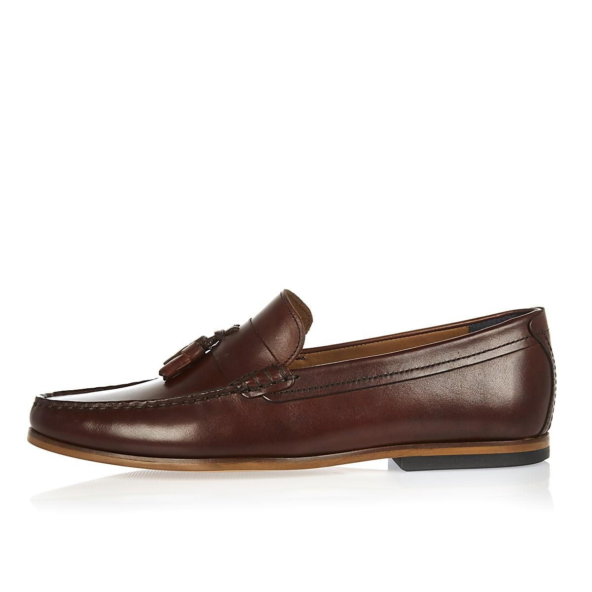 561fcd6a555 Dark brown leather tassel loafers Dark brown leather tassel loafers ...