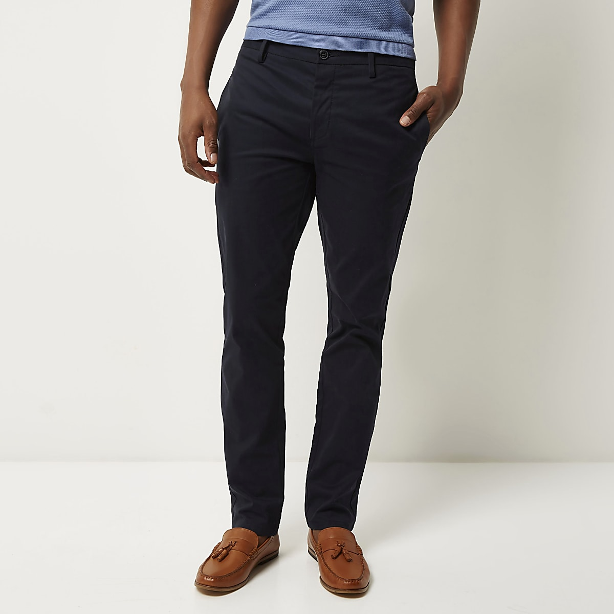 Navy stretch slim fit chino trousers