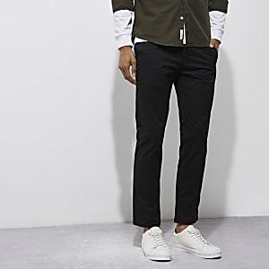 Black stretch slim chino trousers