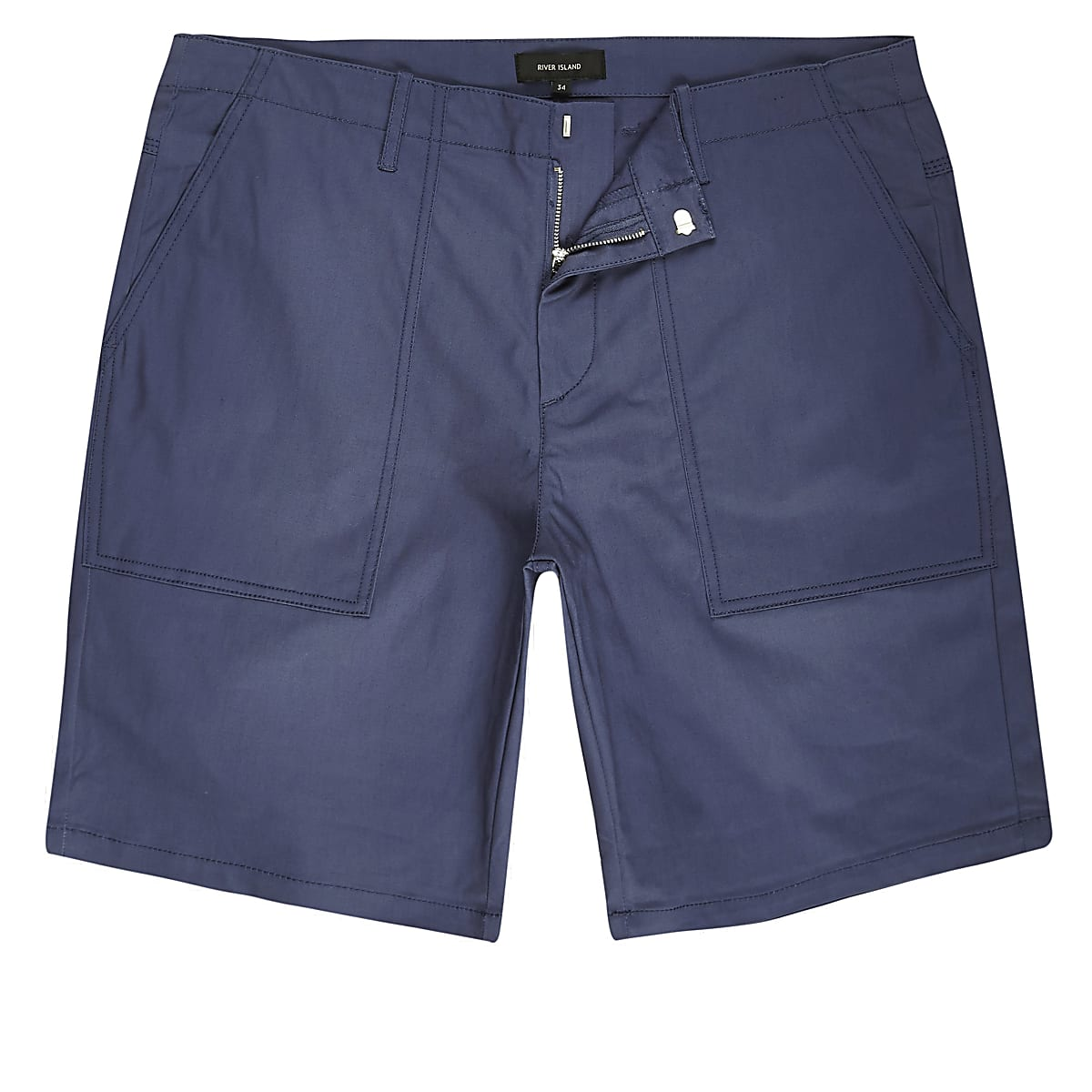 Blue smart slim fit chino shorts