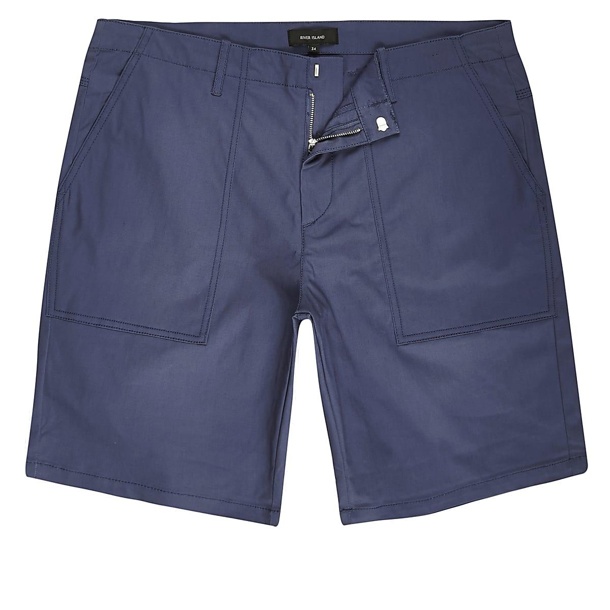 Blue smart slim fit chino shorts