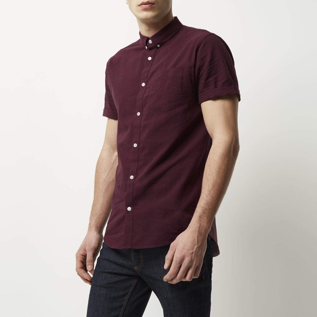 Burgundy short sleeve Oxford shirt