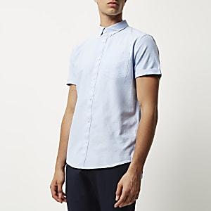 Light blue short sleeve Oxford shirt