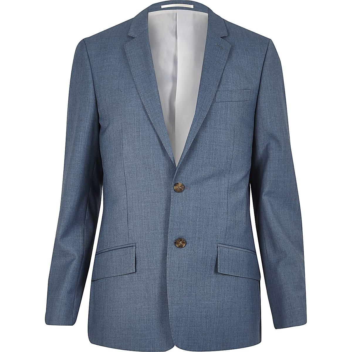 Light blue slim fit suit jacket