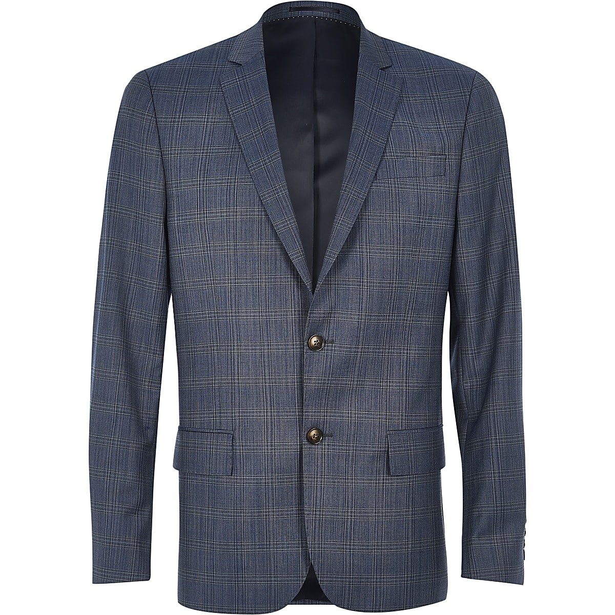 Veste de costume Travel slim bleue à carreaux