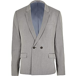 Grey double breasted skinny suit jacket