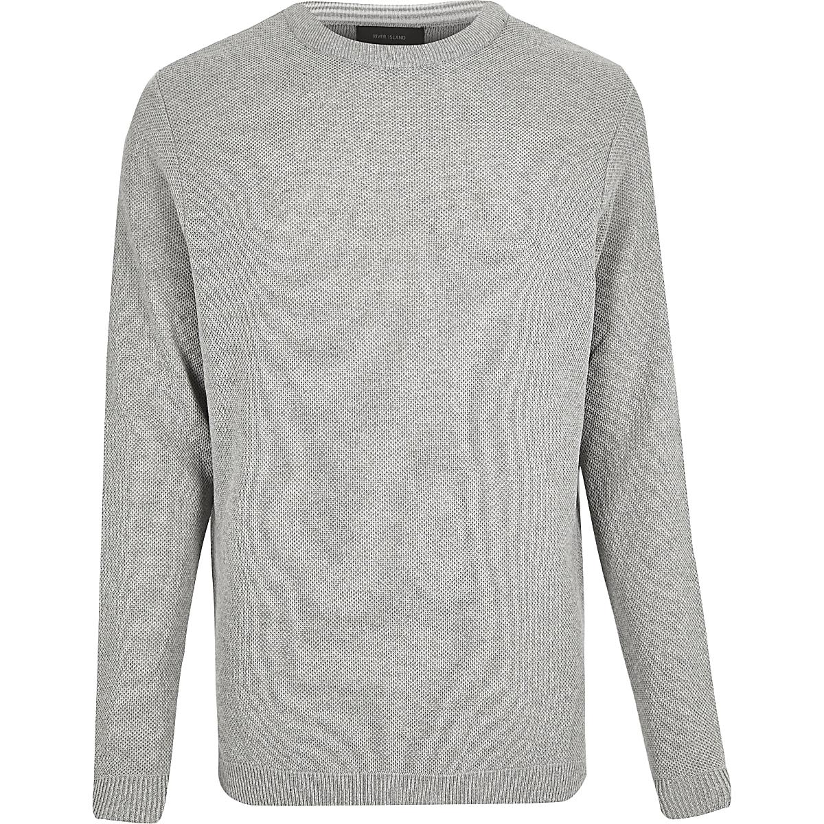 Grey textured jumper