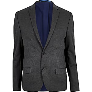 Grey flecked skinny suit jacket