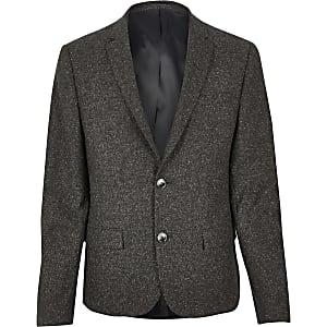 Brown wool skinny suit jacket