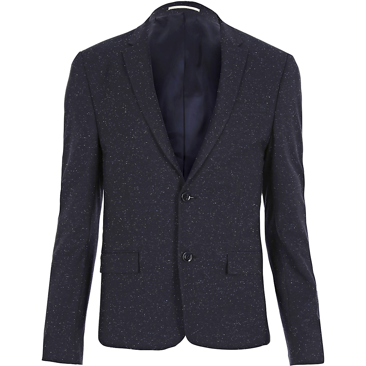 Blue flecked skinny suit jacket