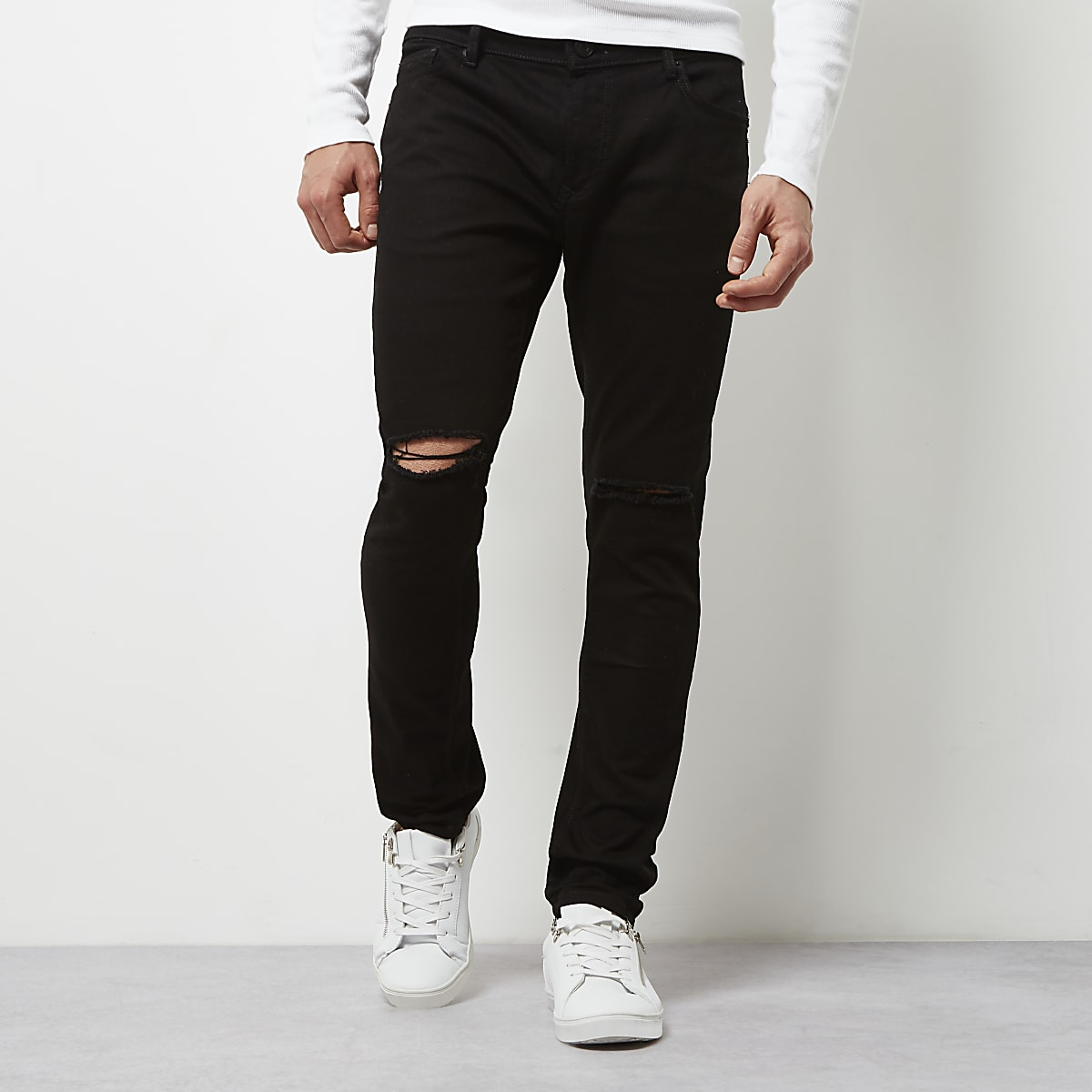 d6f33ebe76 Black ripped Sid skinny jeans - Skinny Jeans - Jeans - men