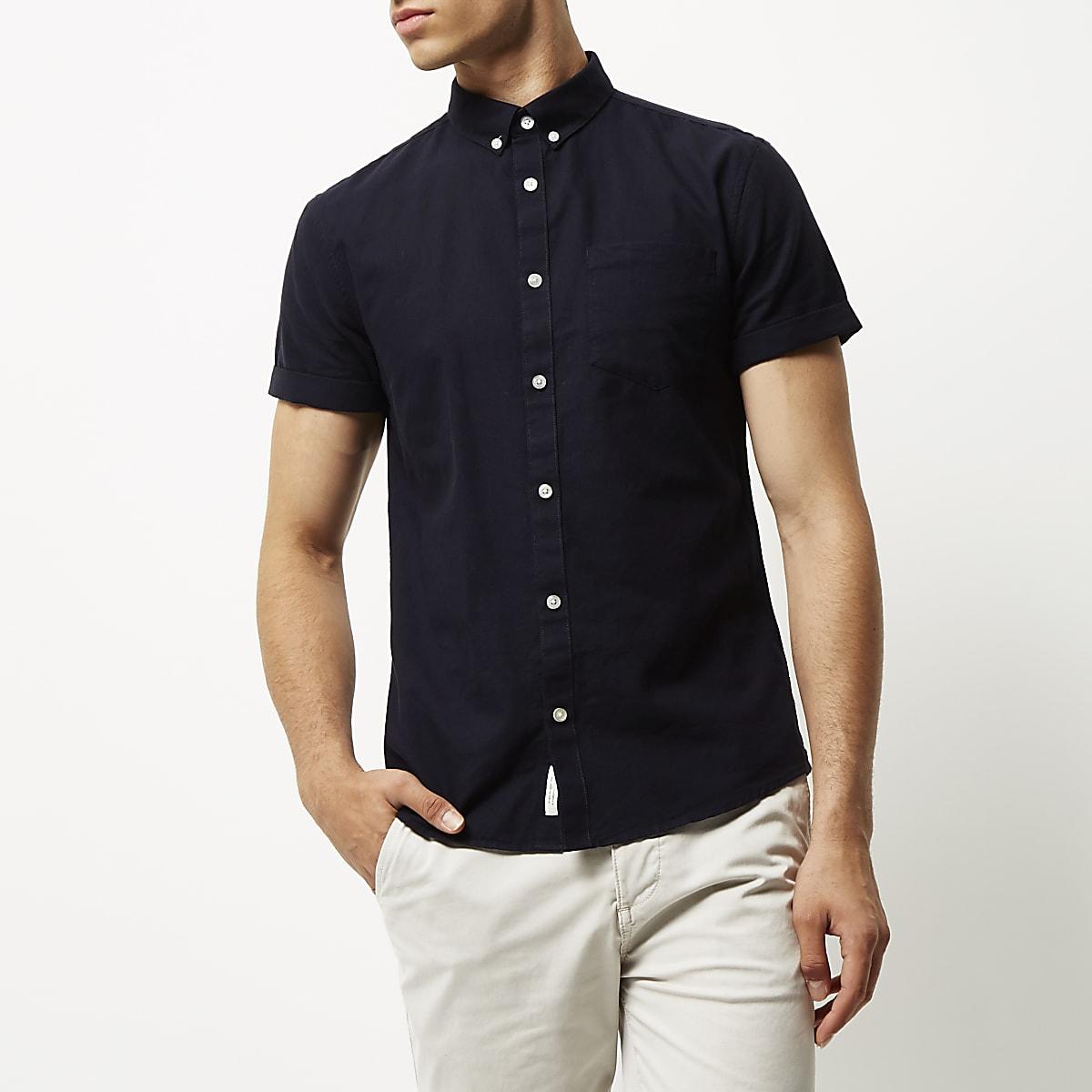 Navy slim fit long sleeve Oxford shirt
