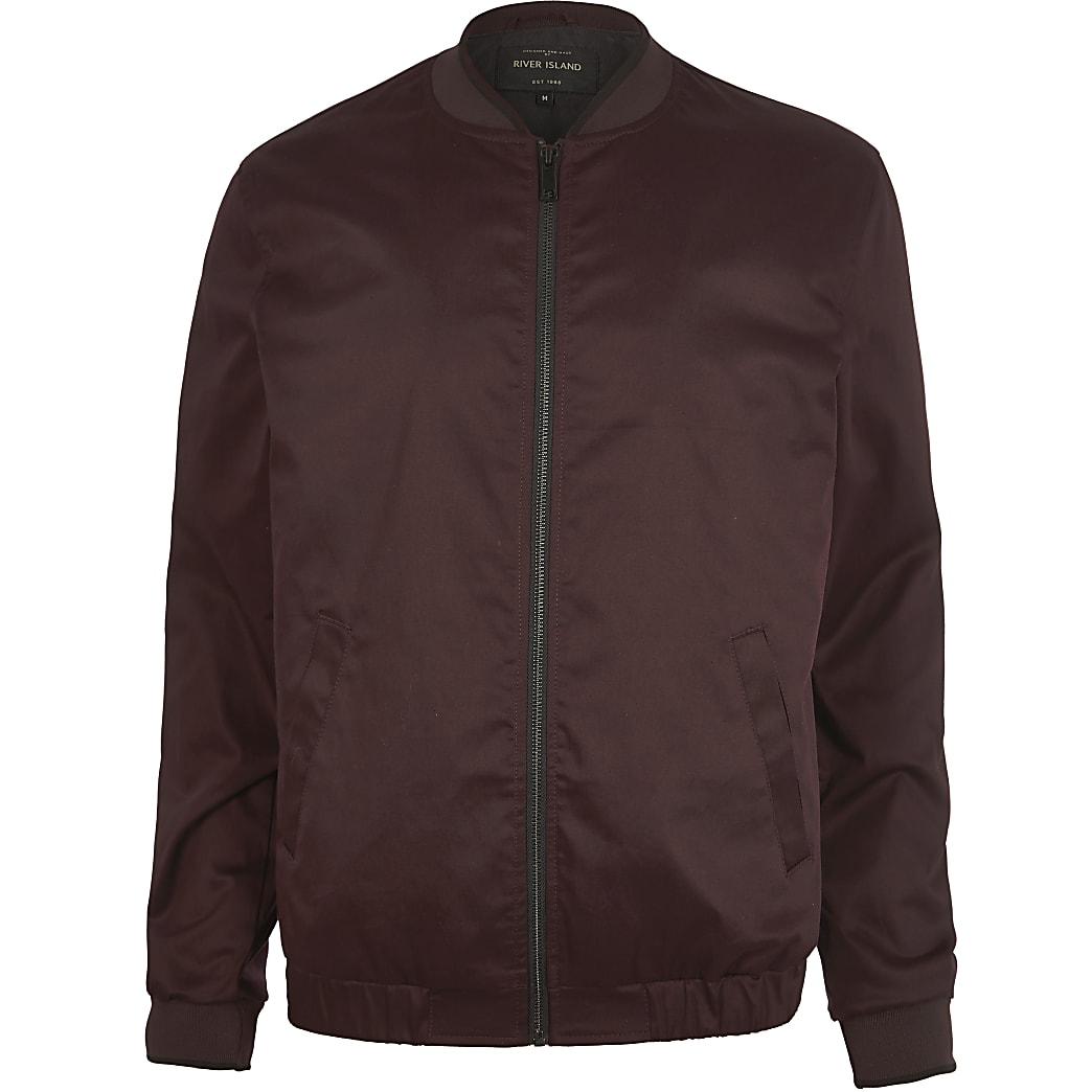 Burgundy bomber jacket