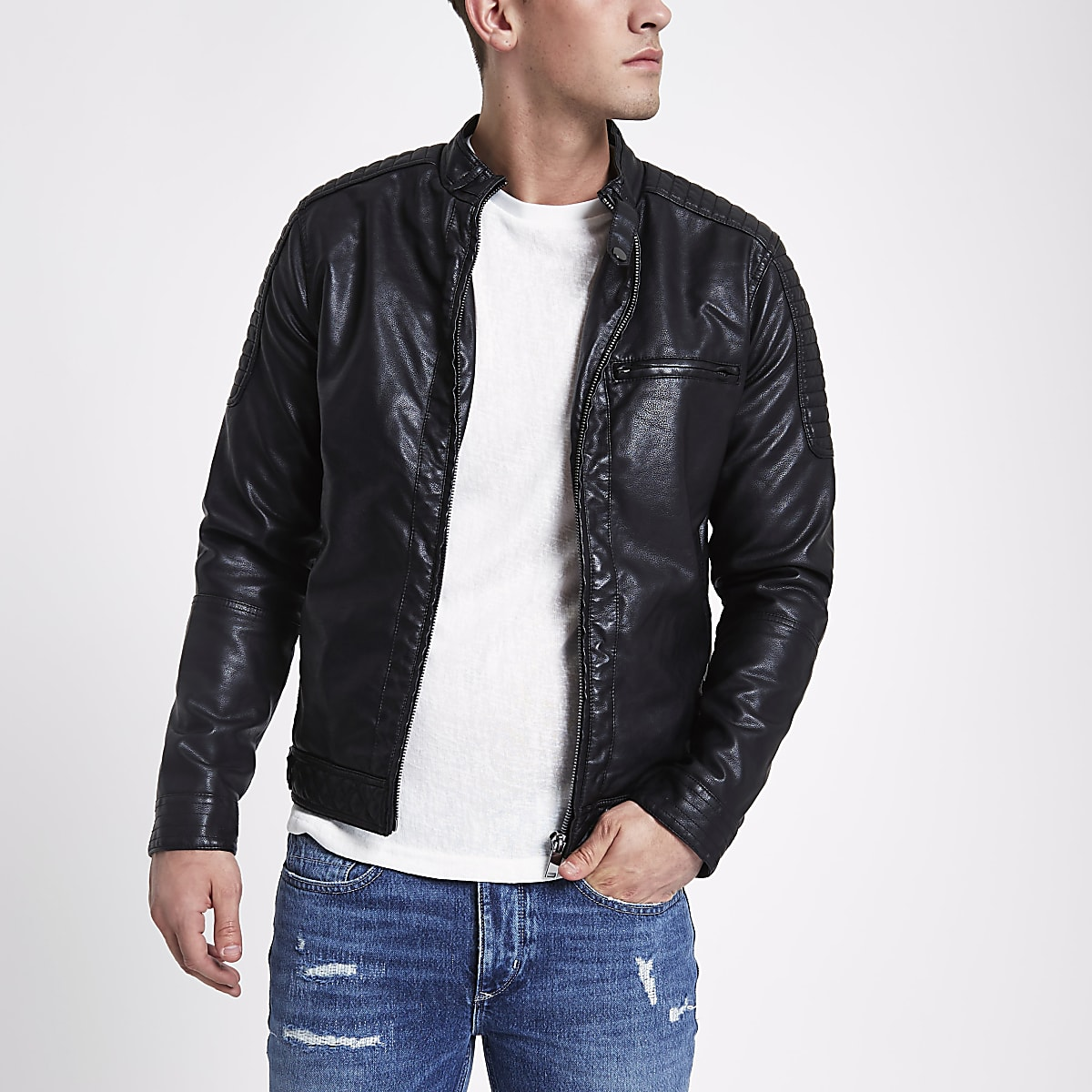 12962536c86 Black faux leather racer jacket