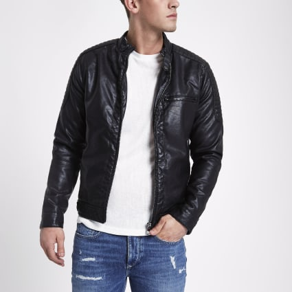 Black faux leather racer jacket