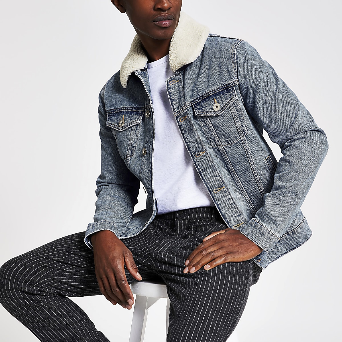 Stonewash fleece collar denim jacket