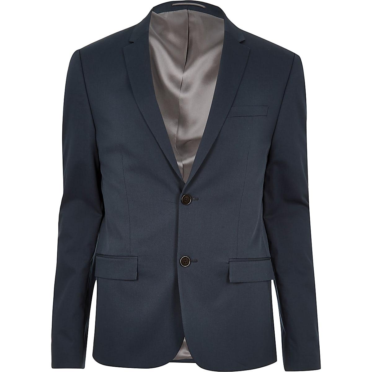 Blauw skinny cropped colbert