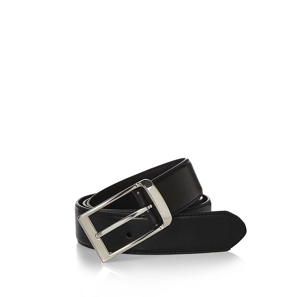Black leather look belt