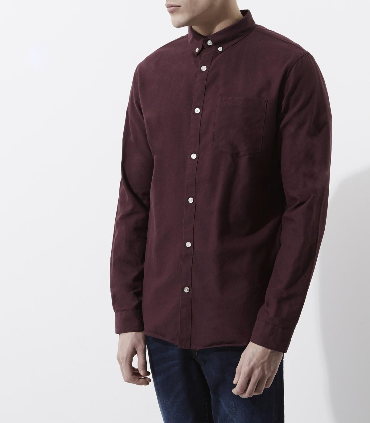 Burgundy long sleeve Oxford shirt