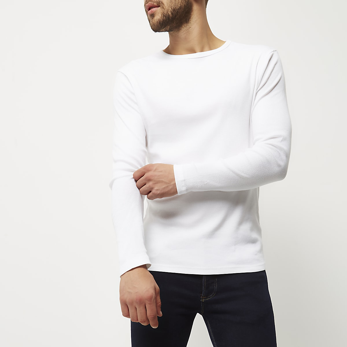 badd1127e245a5 White ribbed slim fit long sleeve T-shirt - Long Sleeve T-Shirts - T ...