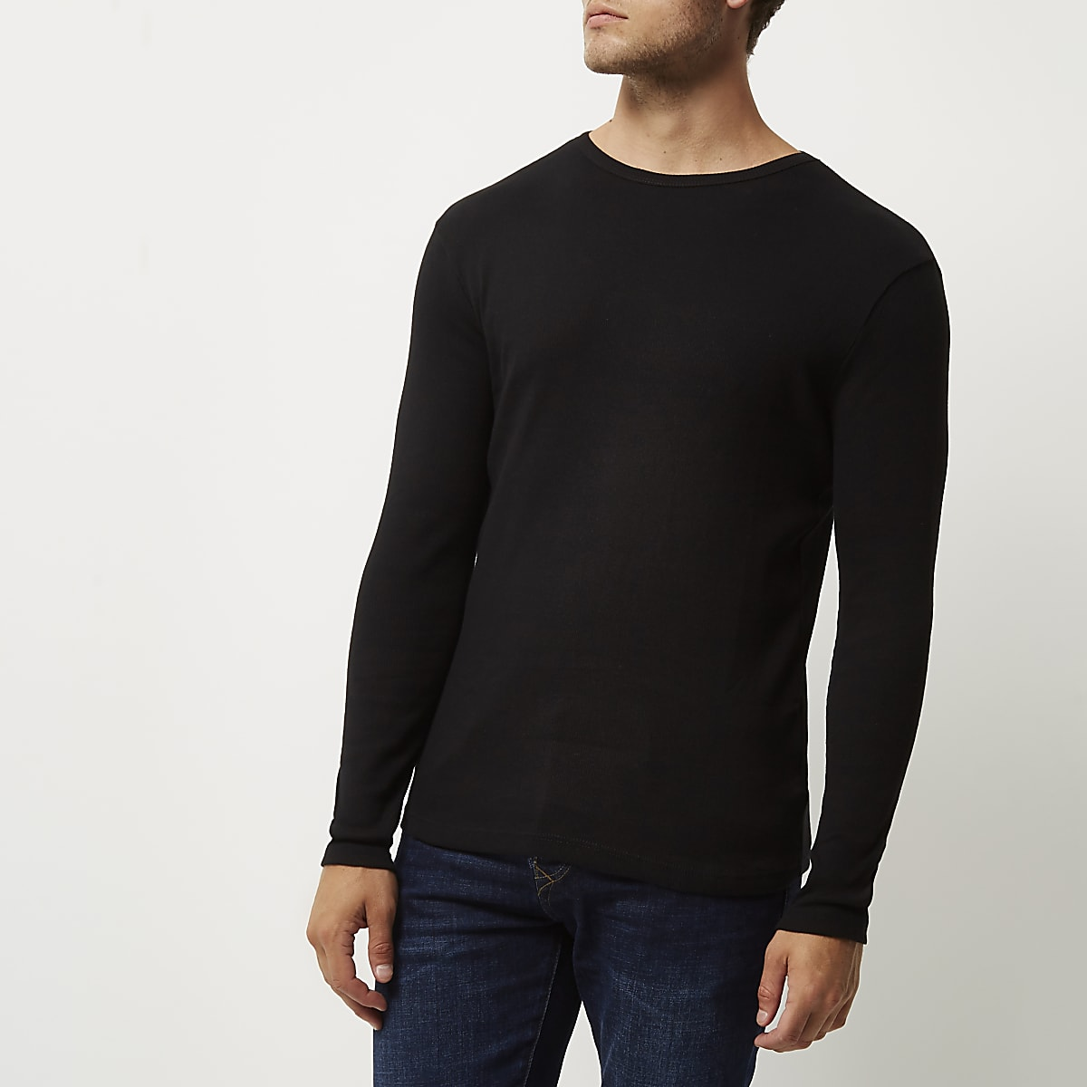 6d55364cd0ae Black ribbed slim fit long sleeve T-shirt - Long Sleeve T-Shirts - T-Shirts  & Vests - men
