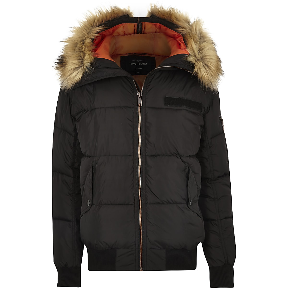 c34e7fece Black faux fur trim hooded puffer jacket
