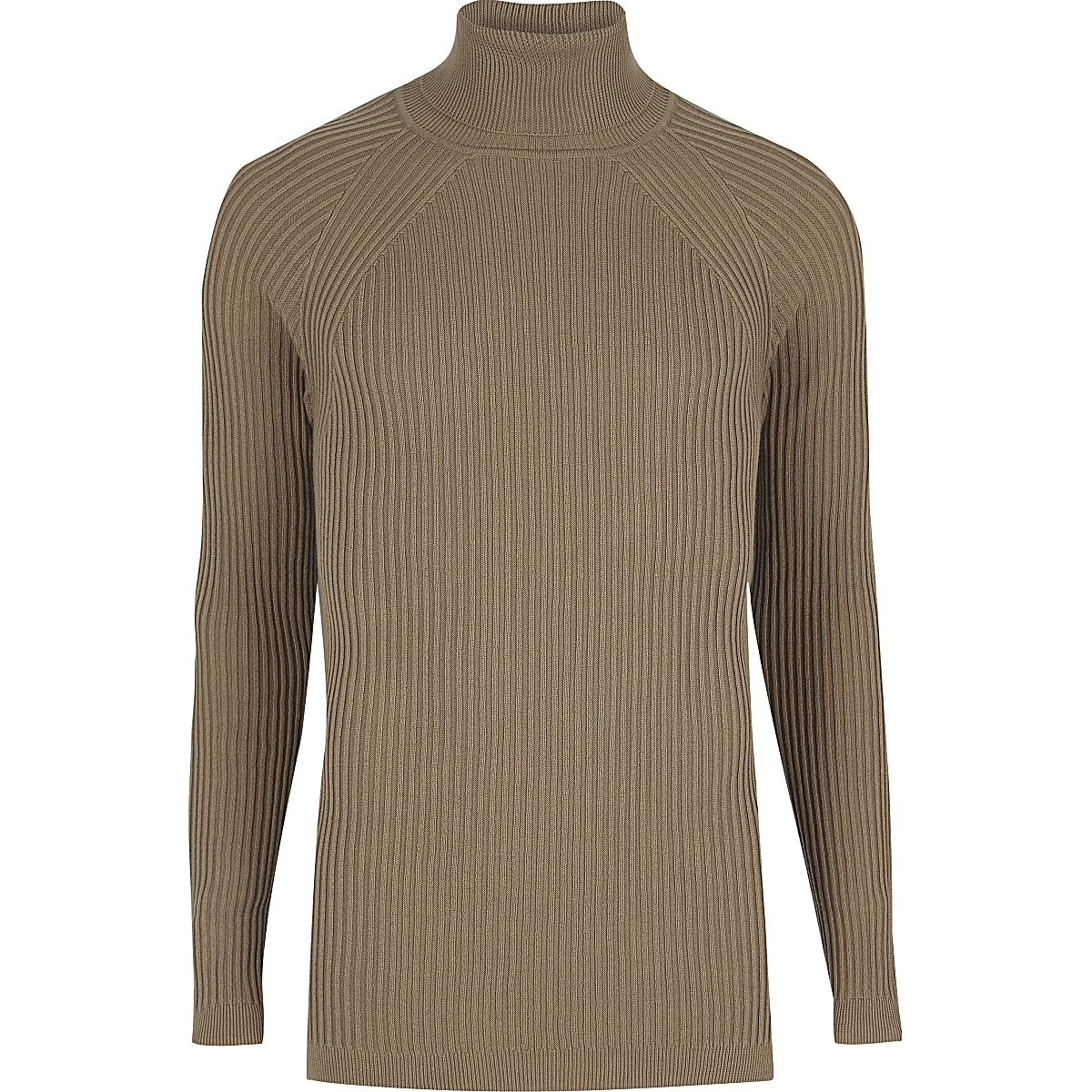 305e75fb9c4 Light brown slim fit roll neck jumper