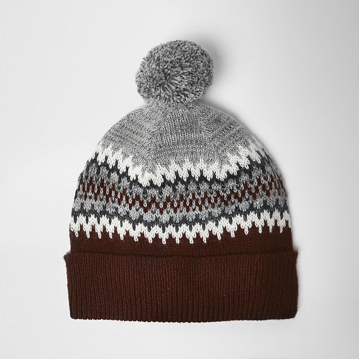 Red Fairisle knit bobble hat